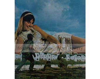 Surreal Art One of a Kind Paper Collage, 8.5 x 11 Inch Original Art on Paper, Amazon Woman and Soldiers, Unusual Wall Art for Men