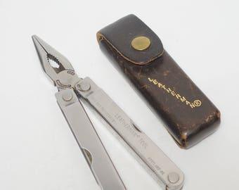 Vintage Early Leatherman PST Multi-Tool Survival Tool & Original Leather Sheath, Leatherman USA PST Multi-Tool, Leatherman Multi-Tool 0593