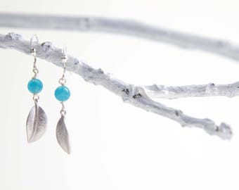 Aquamarine Leaf Earrings