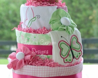 Girl Butterfly Diaper Cake, Unique Baby Gift, Baby Shower Table Centerpiece, Pink and Green Butterfly Baby Girl Diaper Cake Gift, Embroider