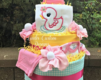 Girl Bath Time Rubber Duckie Diaper Cake, Embroidered Girl Baby Duck Diaper Cake, Unique Baby Gift, Baby Shower Cake Table Centerpiece