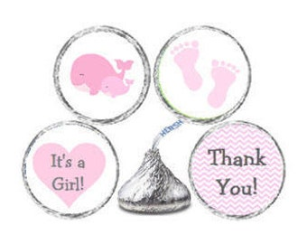Baby Shower Pink & Grey (Gray) Mom and Baby Whale 324 Glossy Stickers for Candy Kiss® Chevron labels Pink Whales **Discounts Available