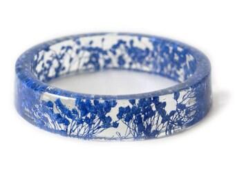 Blue Flower Bracelet -Real Dried Flower Jewelry-  Resin Bangle -Blue Flower Bracelet- -Blue Bracelet- -Resin Jewelry -Flower Jewelry