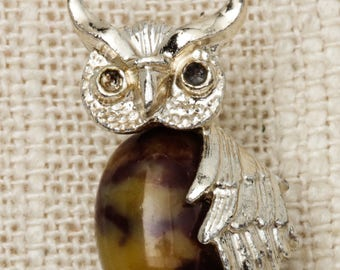 Owl Brooch Vintage Brown Tan Cabachon Silver Gerrys Small Broach Vtg Pin 7T