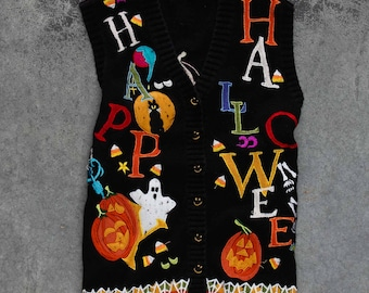 Vintage Halloween Sweater Vest 1990s Neon & Black | Fall Cardigan for Halloween Party | Unisex Adults Size Large XL