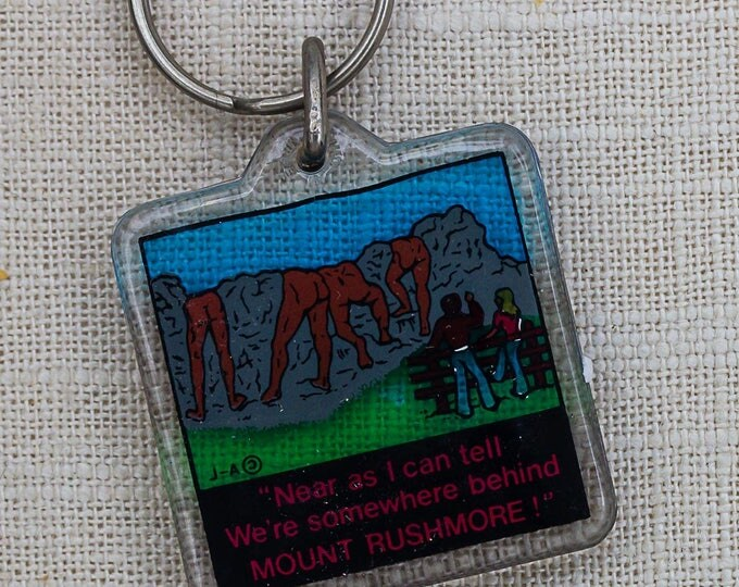 Vintage Funny Mount Rushmore Keychain Butts Rear Ends Key FOB Key Chain 7PP