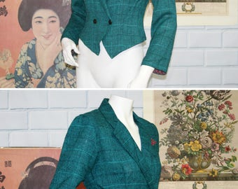 Red Pocket Square Turquoise Blue Tweed Cropped Blazer / 90s Vtg DAWN JOY / Size 5/6