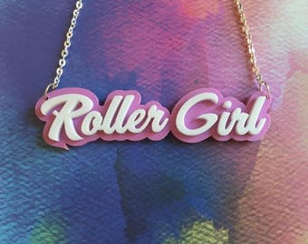 Laser Cut Roller Girl Roller Derby Laser Cut Acrylic Statement 16 Inch Pastel Pink Necklace