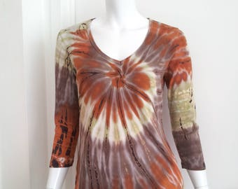 Tie Dye T-Shirt 90s Vintage Grunge Shirt Cotton V Neck Medium Club Kid Festival Psychedelic Shirt Orange Swirl Tee Shirt Long Sleeve Shirt