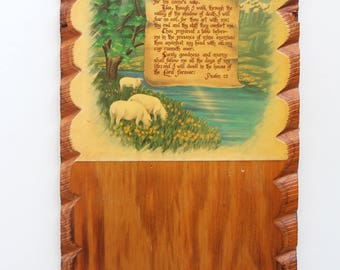 Vintage Psalm 23 Wood Plaque - Sheep Landscape Scalloped Edges