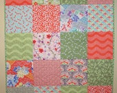 Ready to Ship, Modern Baby Quilt, Handmade, Orange and Green Patchwork Quilt, Quilts For Sale, Busy Hands Quilts