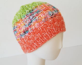 Hand Knit hat in Orange & Lime – Adult One Size