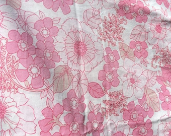 Vintage 60s 70s Pink Flower Power Single Duvet Cover