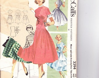 McCalls 3394 Size 15 Junior Rare Pattern 1950's Three Styles Cut Sewing Pattern