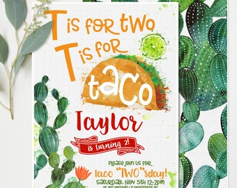 """Taco Twosday (""""Two""""sday 2 ) Birthday Invitations - Orange and Green Cactus - Second Birthday Party Invitations - Printable Instant Download"""