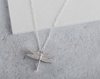 Silver Dragonfly Charm and Sterling Silver Necklace // Nature Inspired Jewellery // Silver Charm Necklace // Minimalist Jewellery // Xmas