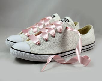Ivory Lace Wedding Converse -Ivory Lace Blush Bridal Converses --Ivory Lace Converse -- Blush Wedding Tennis shoes