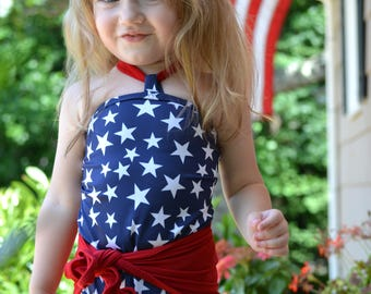 Baby Bathing Suit Red White and Blue Patriotic Summer Outdoors Swimsuit Infant Swimwear Stars Print Girls Swimsuit Toddler 4th July hisOpal
