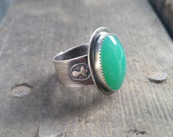 REDUCED: Handmade Green Statement Chrysoprase Ring, Sterling Silver Thick Band Green Ring, Size 9.5