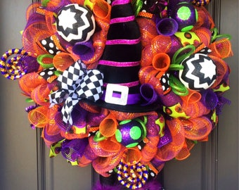 Whimsical Halloween wreath, Halloween Wreath, Halloween witch wreath, Halloween witch door wreath, witch mesh wreath, witch hat and boots