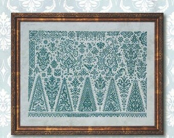 Pre-order INK CIRCLES Forests of Sumatra counted cross stitch pattern at thecottageneedle.com monochromatic