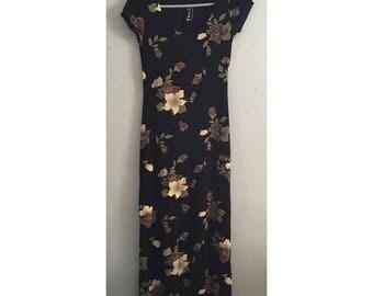 90's Black Floral Stretchy Maxi Dress