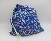Space Toy Bag, Glow In the Dark Rockets, Rocket Ship Bag, Flannel Drawstring Bag, Cloth Gift Bag, Flannel Bag,