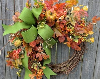 Fall Wreath, Fall Pumpkin and Gourd Wreath, Fall Leaf Wreath, Fall Green Wreath with Bow