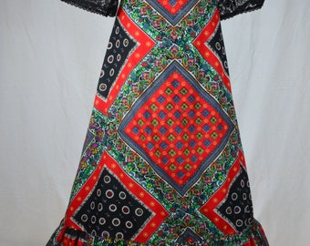 70s Psychedelic ethnic tile print full maxi skirt in red and black with ruffle hem and lace trim size M/L