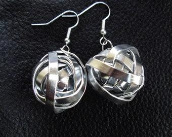 Statement industrial earrings, modern minimalist silver tone aluminum wire ball earrings