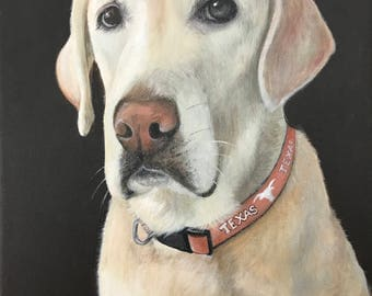 12x16 labrador retriever portrait from photo custom pet painting on canvas hand painted dog cat yellow lab