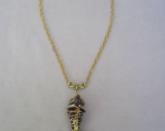 Deep Rich Burgundy Large Cloisonne Fish Pendant Necklace