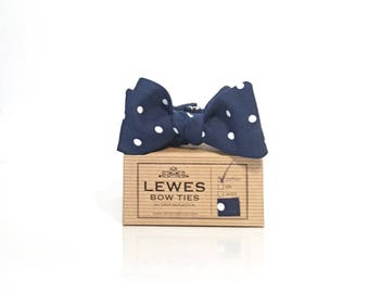 Navy blue men's self tie bow tie made from polka dot cotton fabric, classic polka dot navy blue self tie bow tie for men, wedding bow tie