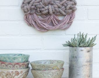 Woven Wall Hanging | Modern Fiber Art with Alpaca Rug Yarn and Hand Dyed Fringe