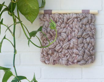Woven Wall Hanging | Neutral Woven Wall Art | Textured Tapestry in Pearl Pink and Beige