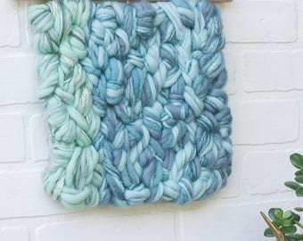 Modern Weaving | Simple Woven Wall Hanging | Tapestry | Green and Blue