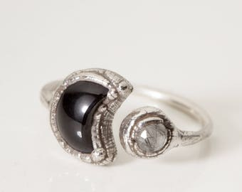VEILED CRESCENT RING • Silver