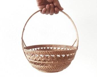 Mid Century Woven Wicker Basket
