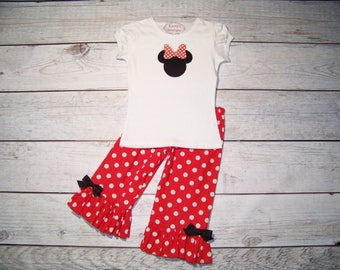Minnie Mouse Outfit / Onesie or Shirt + Ruffle Pants / Red & White / Disney / Birthday / Newborn / Infant / Baby / Girl / Toddler / Boutique