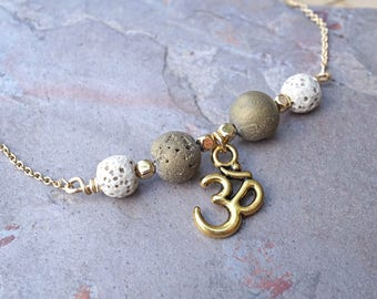 Ohm White and Gold Aromatherapy Necklace Essential Oil Diffuser Necklace Lava Stone Druzy Necklace