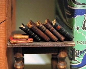 Miniature Dollhouse Books, Leather, set of 7