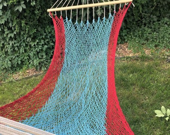 NEW! Single Hammock with Spreader Bars - White, Red & Blue
