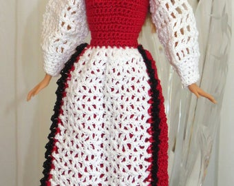 Fashion Doll Norwegian Bunad - Includes Doll Dress Shoes - May 17 Norwegian Constitution Day National Costume - Hand Crochet USA Item 3044