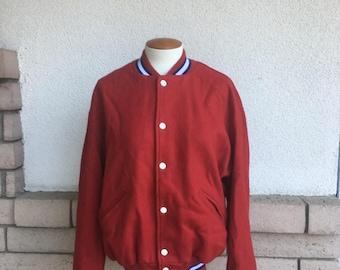 Letterman Jacket 90s Red Wool Varsity Athletic Jacket Size Medium Large