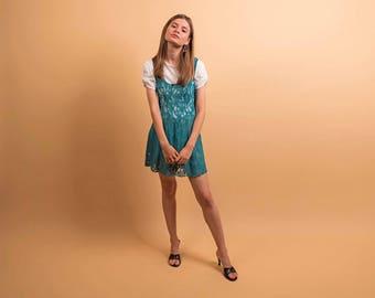 90s Lace Skater Dress / Vintage Lingerie / Lace Lingerie Dress / Mini Dress Δ size: S/M