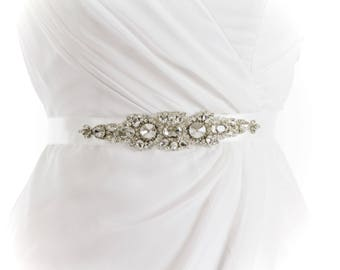 PIPER - Rhinestone Beaded Bridal Sash, Wedding Belt