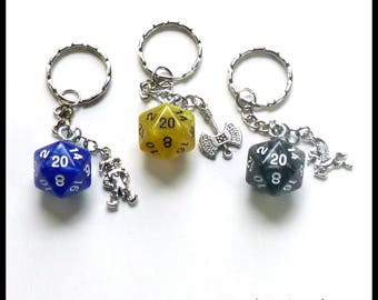 D20 Dice Key Chain with Silver Charm  Your Choice of Colors & Charms  Marble   D20 Dice RPG Tabletop Gaming Nerd Gift DND Gamer Gift