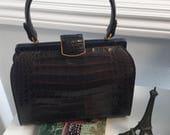 60'S Vintage Joesph Magnin  100% Genuine Crocodile Dk Brown Handbag