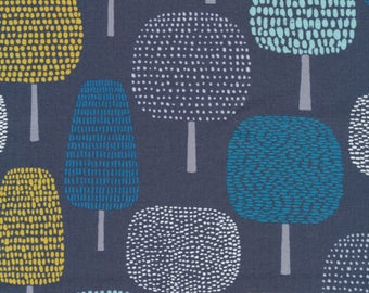 LAMINATED cotton fabric (similar to oilcloth) by the yard - Organic Matte - Trees on navy - WIDE - great for wipeable tablecloths apron