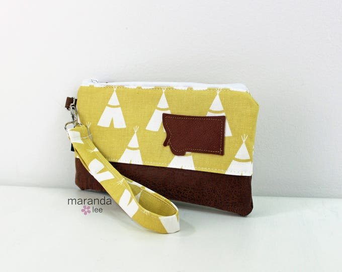Flat Clutch - Tee Pee Mustard with Montana Patch READY to SHIp